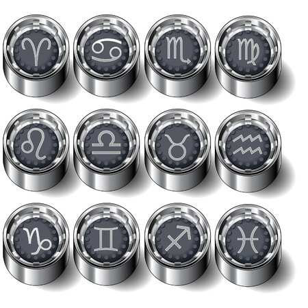 Zodiac astrology symbols on vector industrial rubber buttons - full set Vector