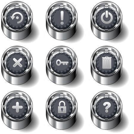 protecting: Computer desktop application icons on modern rubber vector button set