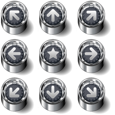 Navigation and direction arrow icons on modern rubber vector button set Vector