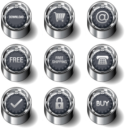 E-commerce and online store icons on modern rubber vector button set  イラスト・ベクター素材