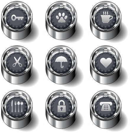 Household icons on modern rubber vector button set Vector
