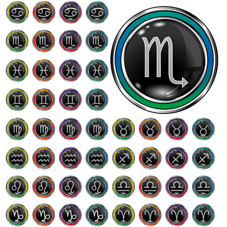 Psychedelic astrology, zodiac, and horoscope icons on round vector web buttons Stock Vector - 4833450