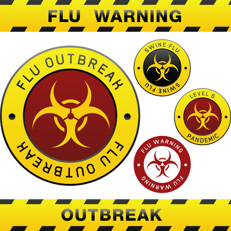 bird flu: Swine flu pandemic outbreak warning tape, badge, labels and sticker with biohazard symbol