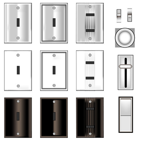 accessory: Light switches and faceplates with glossy black, white, and stainless steel texture - vector set
