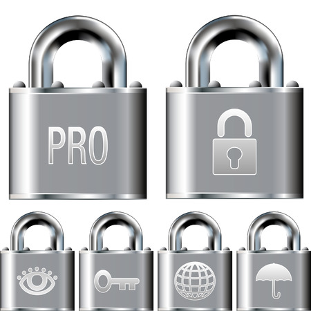 Internet security professional alarm system icon set on stainless steel vector padlock buttons