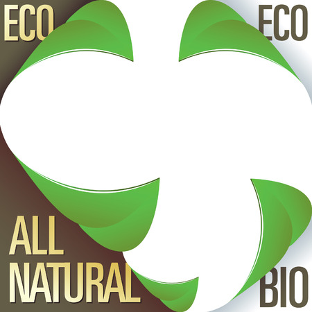 Eco and all natural corner label stickers with peeling leaves - for use in print materials, on product packaging, and on websites Vector