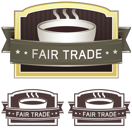 Fair trade coffee label sticker for use on product packaging, print materials, websites and in advertising and promotion