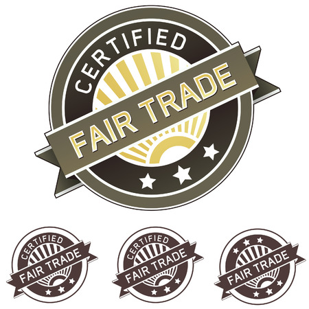 trade fair: Certified fair trade good and food label sticker for use on product packaging, print materials, websites and in advertising and promotion