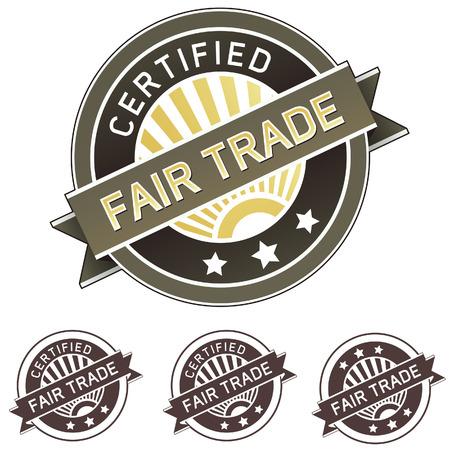 Fair-Trade-zertifizierten gute Lebens-und Label-Aufkleber für den Einsatz auf Produkt-Verpackungen, Print-Materialien, Websites und in der Werbung und Öffentlichkeitsarbeit Vektorgrafik
