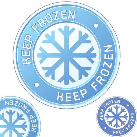 conserve: Conservez les aliments congel�s �tiquette autocollant pour utilisation dans des sites Web, documents imprim�s, et l'emballage des produits Illustration
