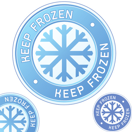 Keep frozen food product label sticker for use in websites, print materials, and product packaging Ilustração