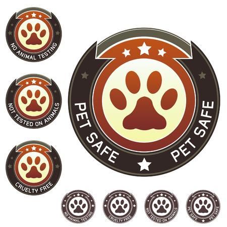 Pet de sécurité, de la cruauté gratuite et sans expérimentation animale et des produits alimentaires label autocollants - pour l'impression, l'emballage, sites web, et de matériel promotionnel Banque d'images - 4833424