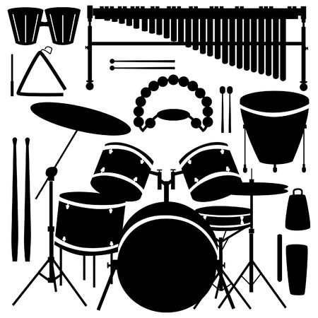 Drums, cymbals, and percussion instruments in vector silhouette Vector