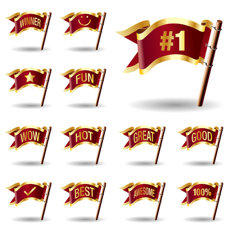 extension: E-commerce promotion and advertising extension icons on royal vector flag design elements for web or print
