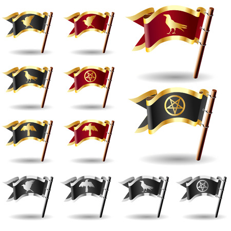 Pentagram, crow, and raven icons on vector flag button set - red and gold, black and silver, and black and gold heralds Stock Vector - 4833449