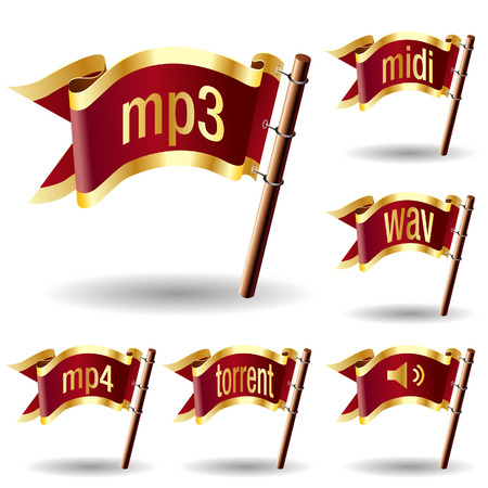 torrent: Audio file type extension icons on royal vector flag buttons for web or print