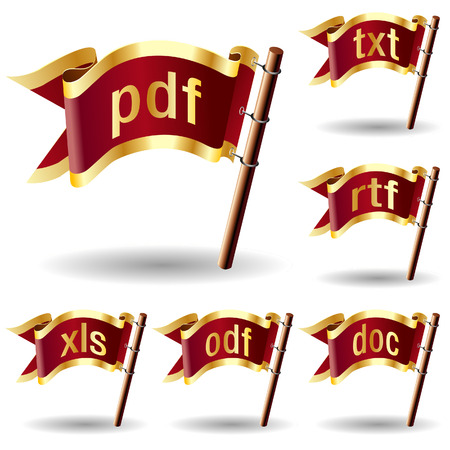 mime: Document or text file extension icons on royal vector flag design elements for web or print