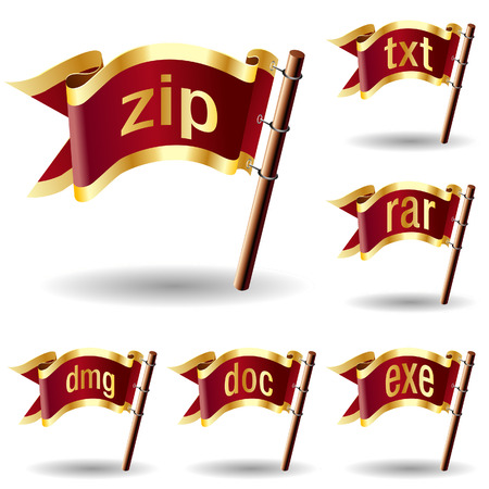 Compression or archive file extension icons on royal vector flag design elements for web or print 向量圖像