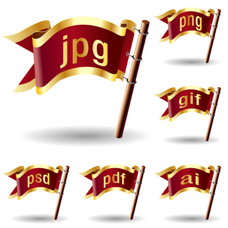 Image or graphic file extension icons on royal vector flag design elements for web or print Stock Vector - 4833428