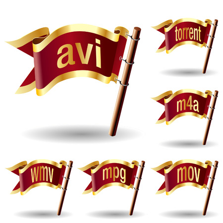 Video or movie file extension icons on royal vector flag design elements for web or print