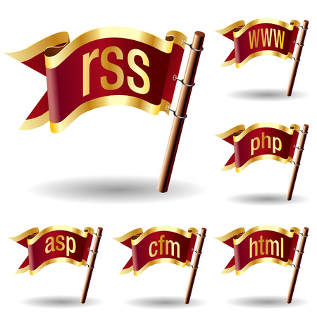 Web or internet file extension icons on royal vector flag design elements for web or print 向量圖像