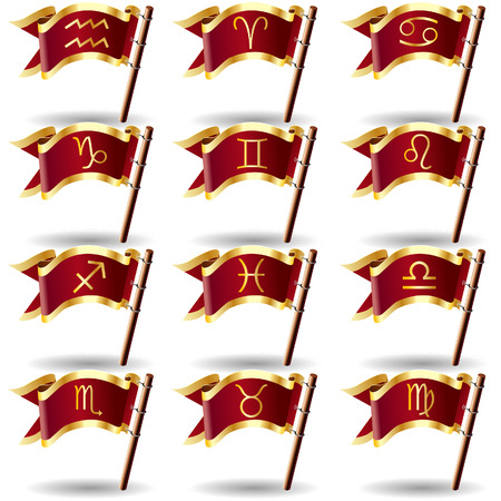 Zodiac astrology and horoscope sign icons on royal vector flag buttons Vector