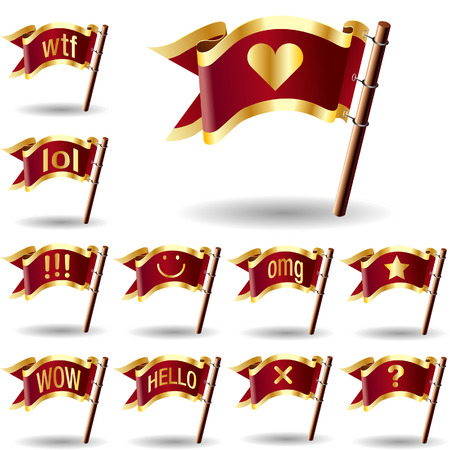 hello heart: Chat or instant message icons on royal vector flag buttons - good for web, print, advertising, and promotion Illustration