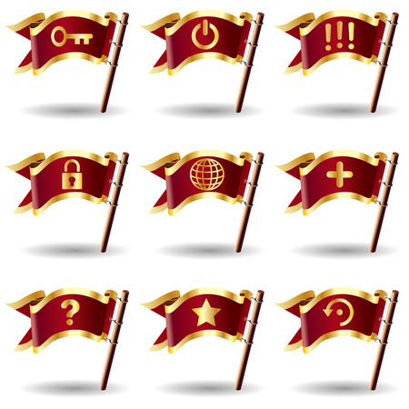 Desktop application computer icons on royal vector flag buttons - good for print, web, or packaging 向量圖像
