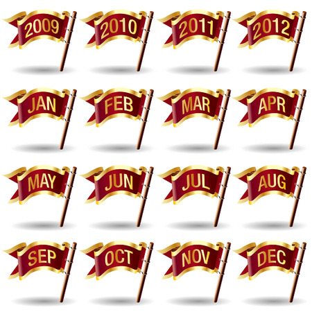 Month and year calendar icons on royal vector flag design elements for web or print Stock Vector - 4833448