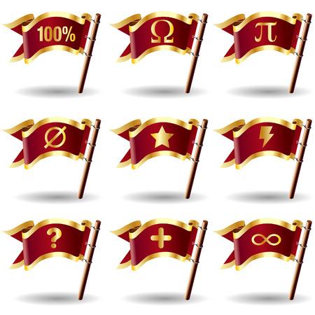 nulo: Matem�ticas s�mbolo icono establecido en vectores bandera real botones - bueno para la impresi�n, web, publicidad, promoci�n o