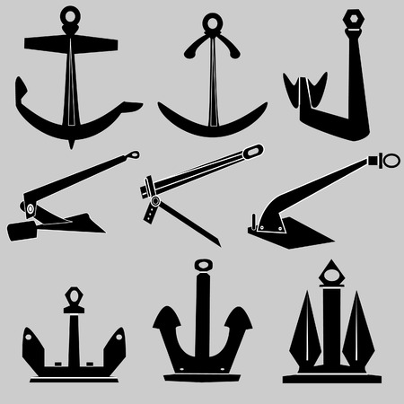 oceanography: Navi e barche ancore nel vettore silhouette Vettoriali