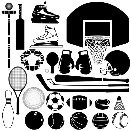 Sports equipment and balls in detailed vector silhouette Vector