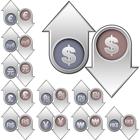 International currency icons on vector up and down arrow buttons to indicate rising or falling value and price - for print, web, advertising, or promotion