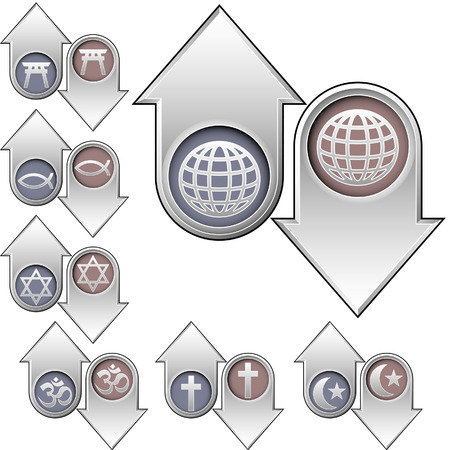 World religion symbols and icons on vector up and down arrows to indicate rising and falling popularity - good for print, web, or advertising Illustration