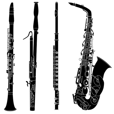 Woodwind musical instruments set in detailed vector silhouette Ilustracja