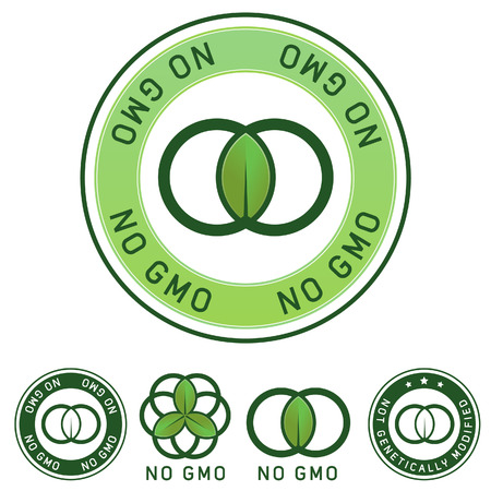 modified: Not genetically modified and no GMO food label stickers for use on product packaging, websites, print materials, and advertising and promotional designs Illustration