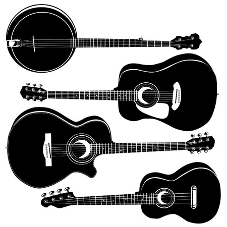 Acoustic guitars and banjo in detailed vector silhouette. Set includes a variety of body styles for any type of music. Vettoriali