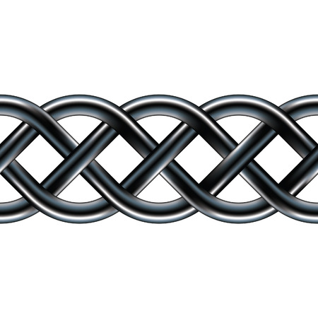 Serpentine celtic pattern in stainless steel texture.  Functional as a border, design element, or background since the image is a seamless vector.