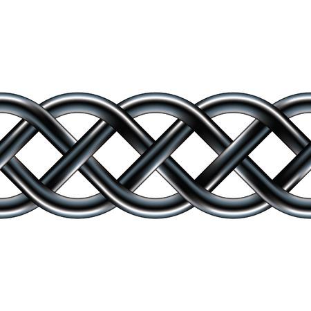 keltische muster: Serpentine keltische Muster in Edelstahl Textur. Funktionelle als Grenze, Design-Element, oder im Hintergrund, da das Bild ist eine nahtlose Vektor.