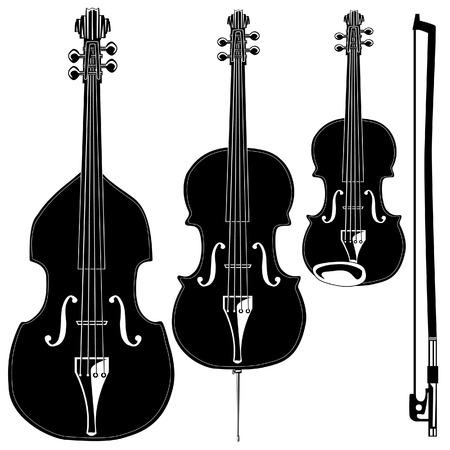 詳細なベクトル シルエットで弦楽器。セットには、ヴァイオリン、ヴィオラ、チェロ、直立した低音、弓が含まれています。  イラスト・ベクター素材