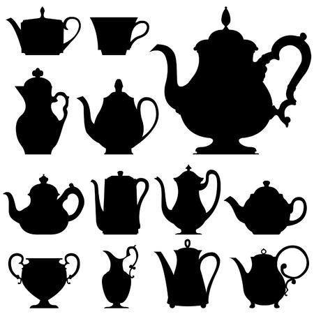Theepotten en koffie potten Vector Illustratie