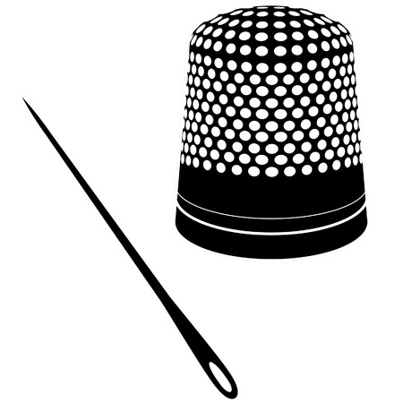 hem: Detailed vector illustration of thimble and needle silhouettes. Illustration
