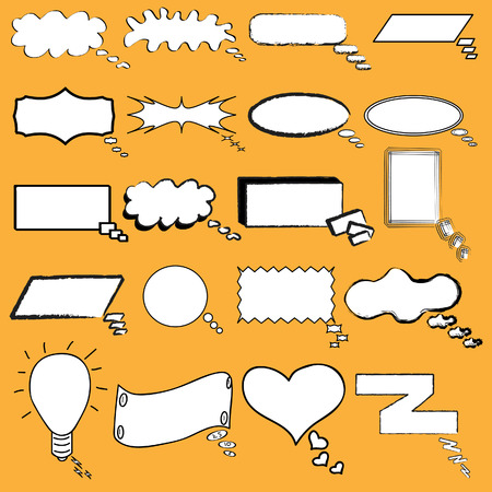 blase: Hand drawn cartoon or comic thought and conversation bubble in vector illustration Illustration