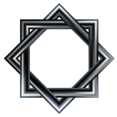 symbols: Celtic star pattern consisting of two intertwined squares.  Vector file contains traditional celt shape with stainless steel metal texture. Illustration