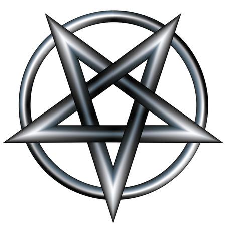 Pentagram all'interno di un cerchio. Vector file contiene pentangle stella forma con struttura metallica in acciaio inossidabile. Archivio Fotografico - 5018777