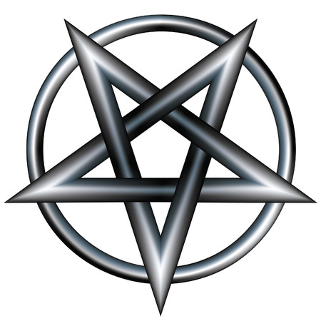 Pentagram inside a circle.  Vector file contains pentangle star shape with stainless steel metal texture. Illustration