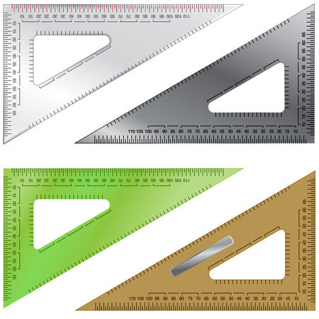Detailed vector illustration of triangles used in drafting and engineering, with measurement markings and various textures. Vector
