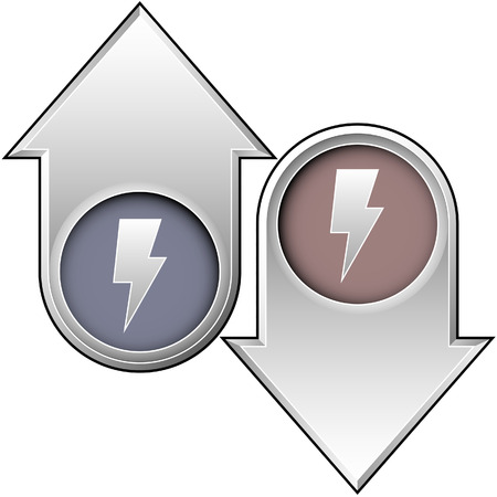 Lightning bolt or electricity icon on up and down arrow buttons Stock Vector - 5018770