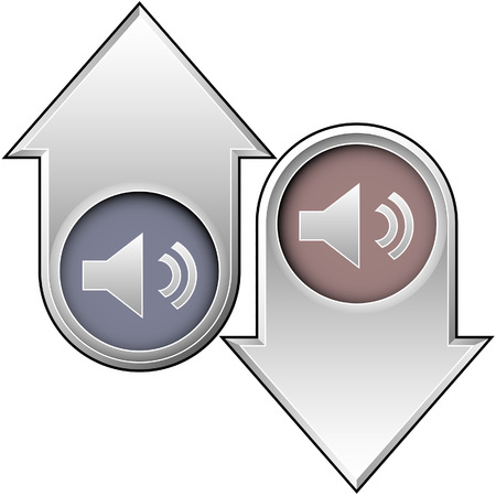 Volume or mute media player icon on up and down arrow buttons