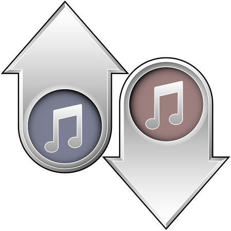 Music notes icon on up and down arrow buttons Stock Vector - 5018772
